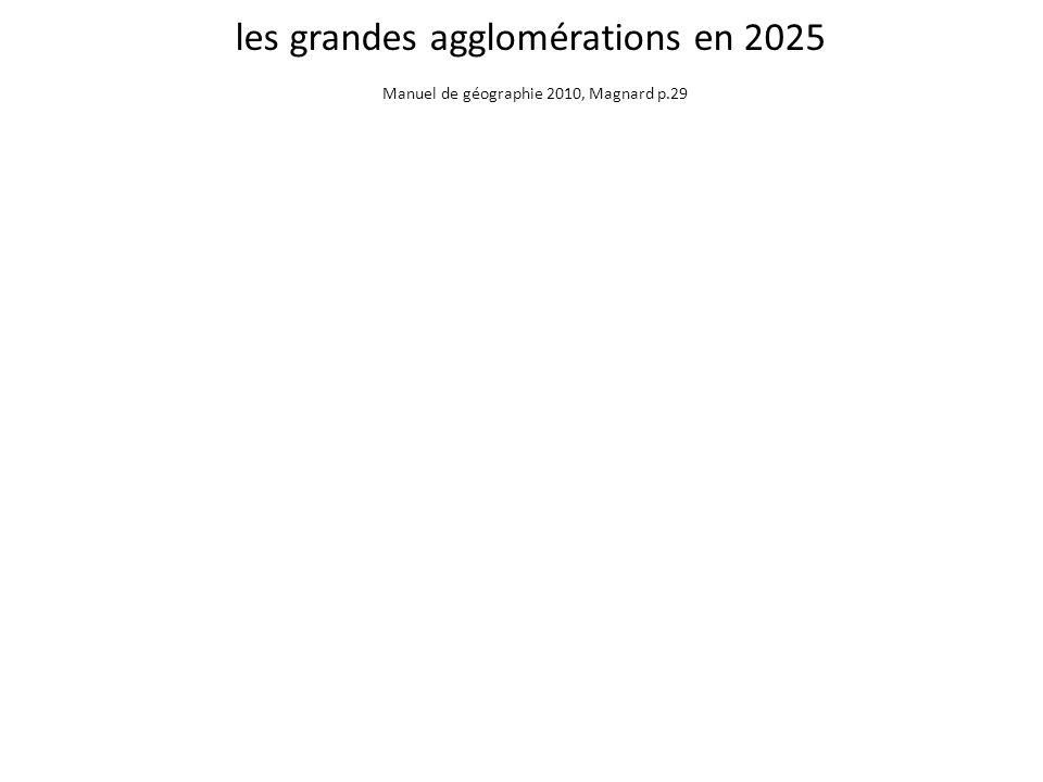 les grandes agglomérations en 2025 Manuel de géographie 2010, Magnard p.29