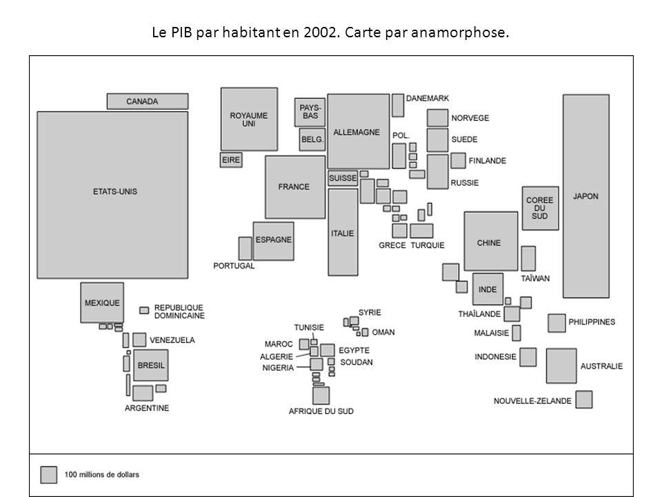 Le PIB par habitant en 2002. Carte par anamorphose.