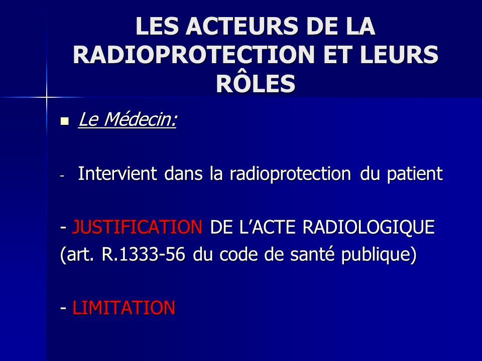 LES ACTEURS DE LA RADIOPROTECTION ET LEURS RÔLES