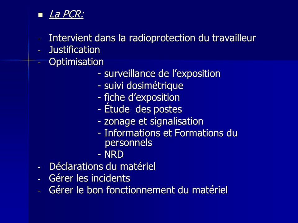 La PCR: Intervient dans la radioprotection du travailleur. Justification. Optimisation. - surveillance de l'exposition.