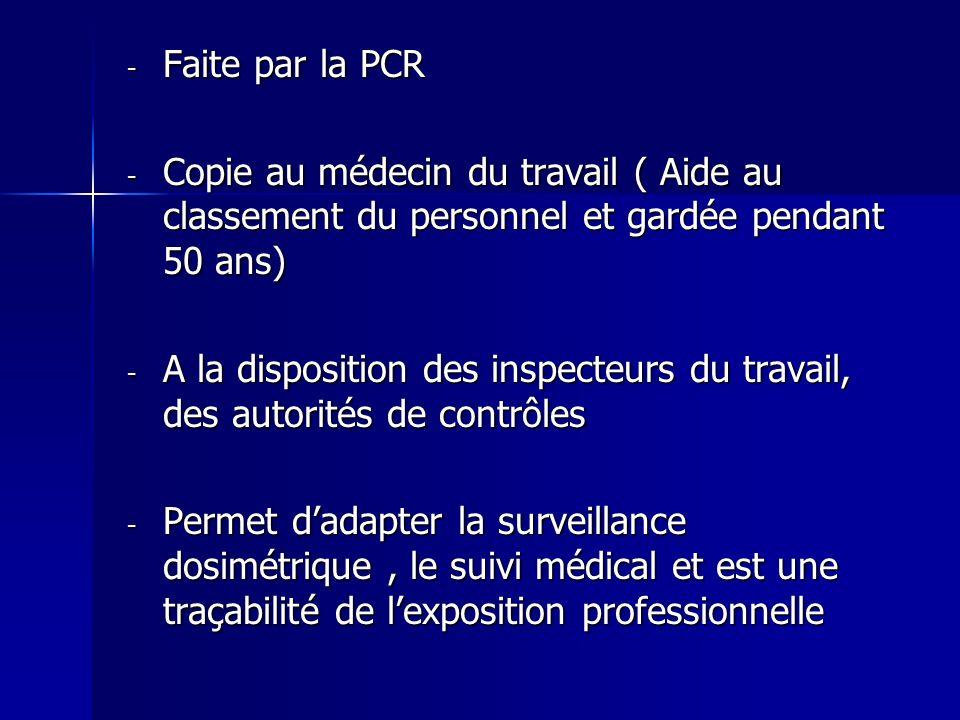 Faite par la PCR Copie au médecin du travail ( Aide au classement du personnel et gardée pendant 50 ans)
