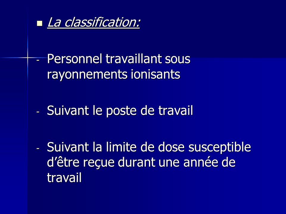 La classification: Personnel travaillant sous rayonnements ionisants. Suivant le poste de travail.