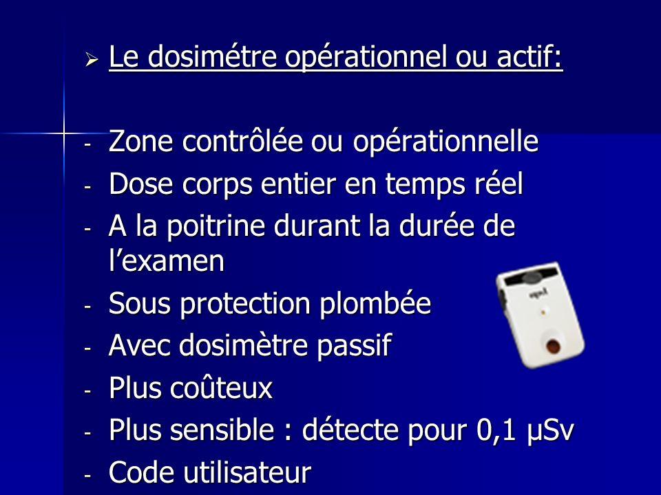 Le dosimétre opérationnel ou actif: