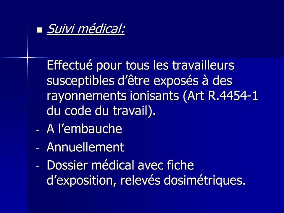 Suivi médical: Effectué pour tous les travailleurs susceptibles d'être exposés à des rayonnements ionisants (Art R.4454-1 du code du travail).