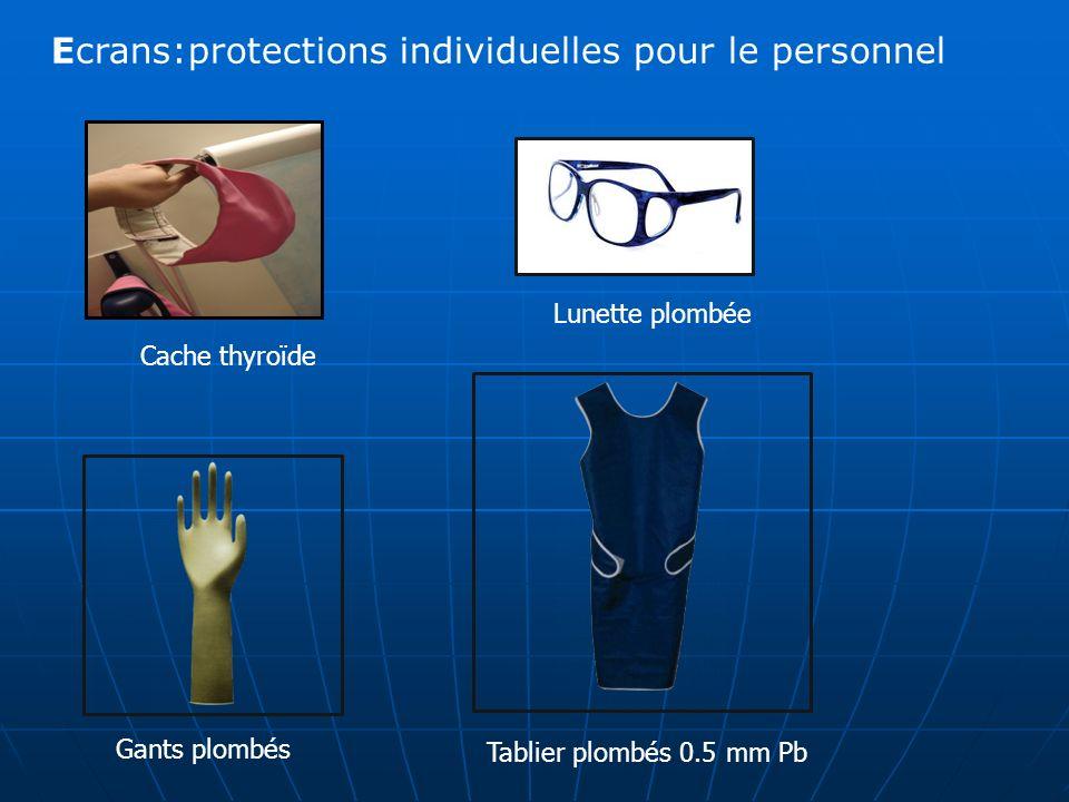 Ecrans:protections individuelles pour le personnel
