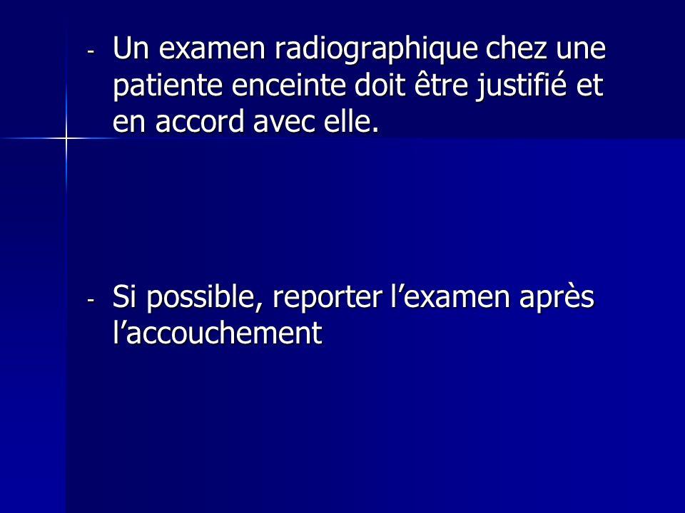 Un examen radiographique chez une patiente enceinte doit être justifié et en accord avec elle.