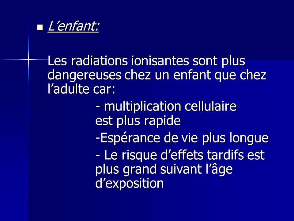 L'enfant: Les radiations ionisantes sont plus dangereuses chez un enfant que chez l'adulte car: - multiplication cellulaire est plus rapide.