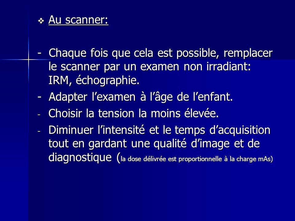 Au scanner: - Chaque fois que cela est possible, remplacer le scanner par un examen non irradiant: IRM, échographie.