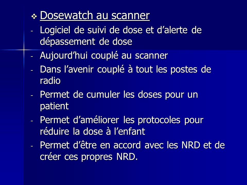Dosewatch au scanner Logiciel de suivi de dose et d'alerte de dépassement de dose. Aujourd'hui couplé au scanner.