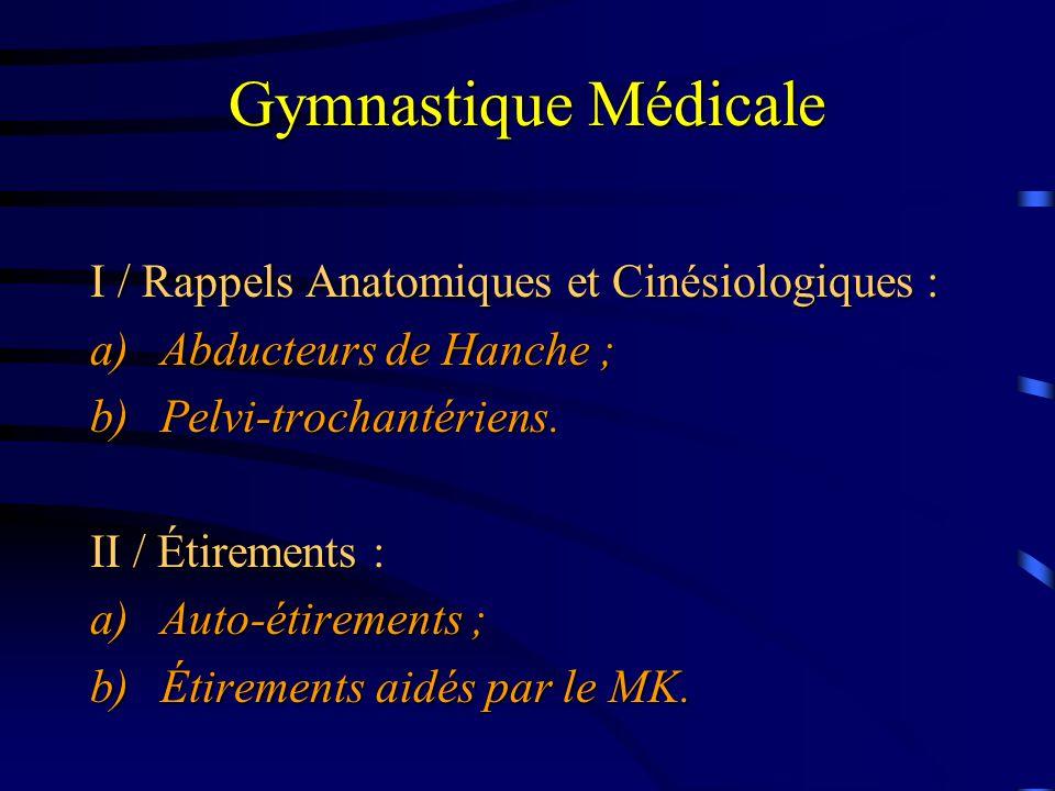 Gymnastique Médicale I / Rappels Anatomiques et Cinésiologiques :