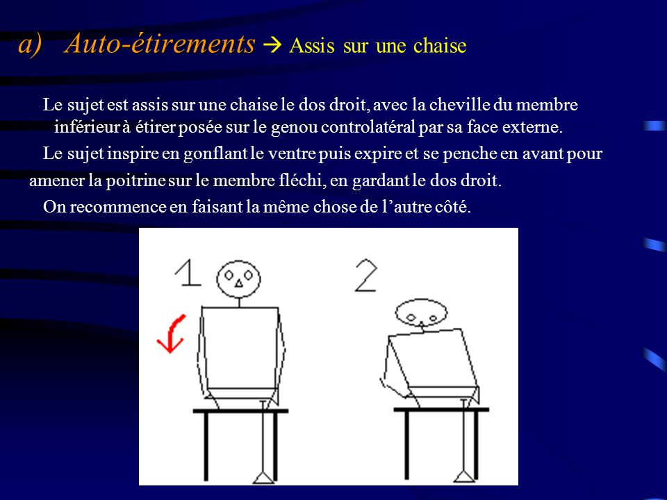 a) Auto-étirements  Assis sur une chaise