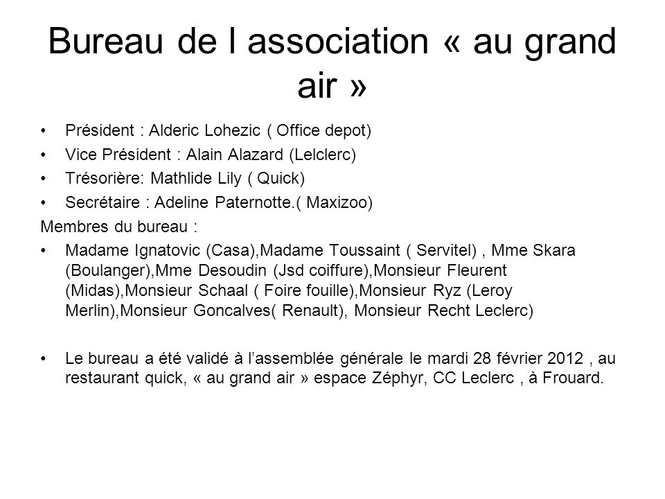 Bureau de l association « au grand air »
