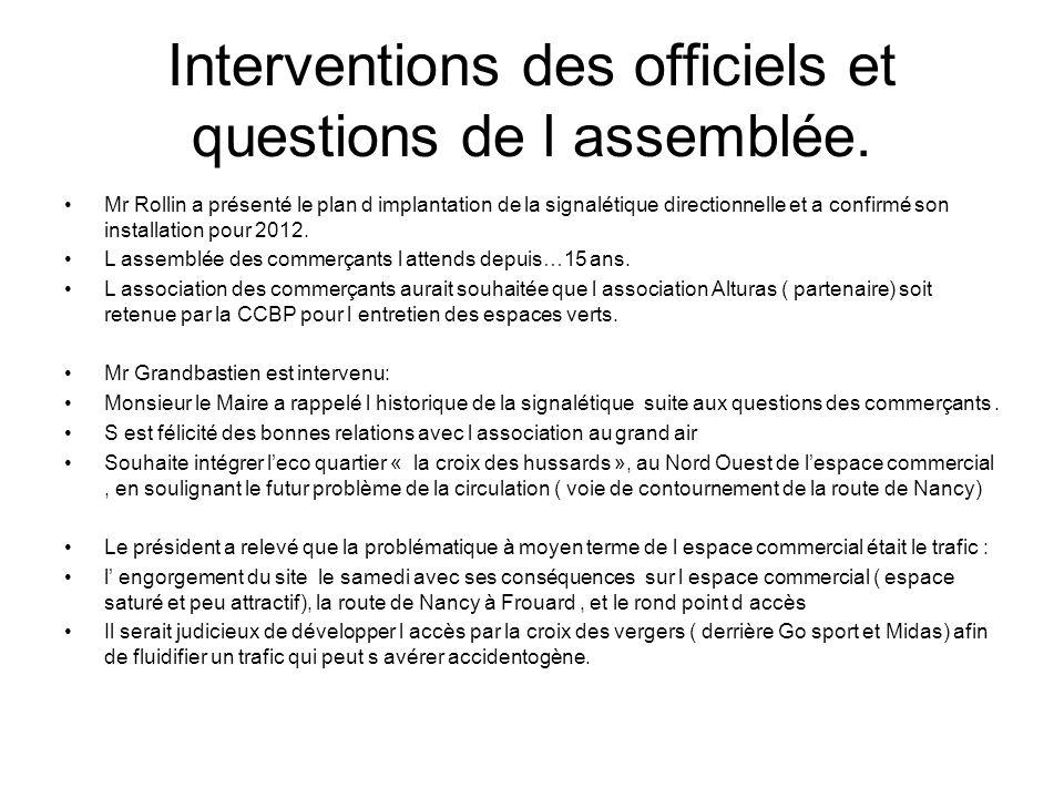 Interventions des officiels et questions de l assemblée.