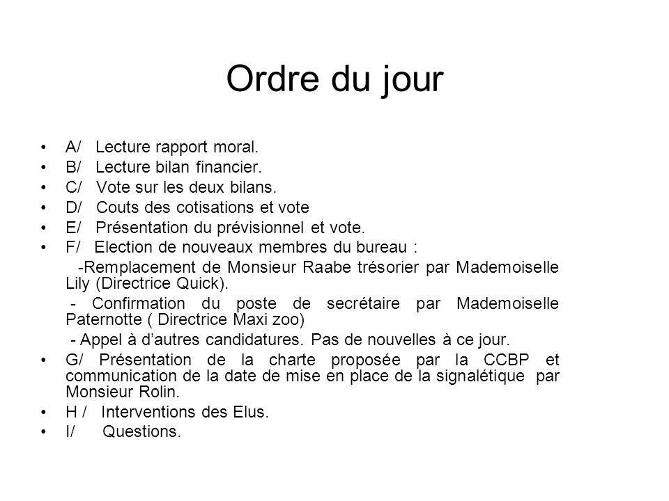Ordre du jour A/ Lecture rapport moral. B/ Lecture bilan financier.