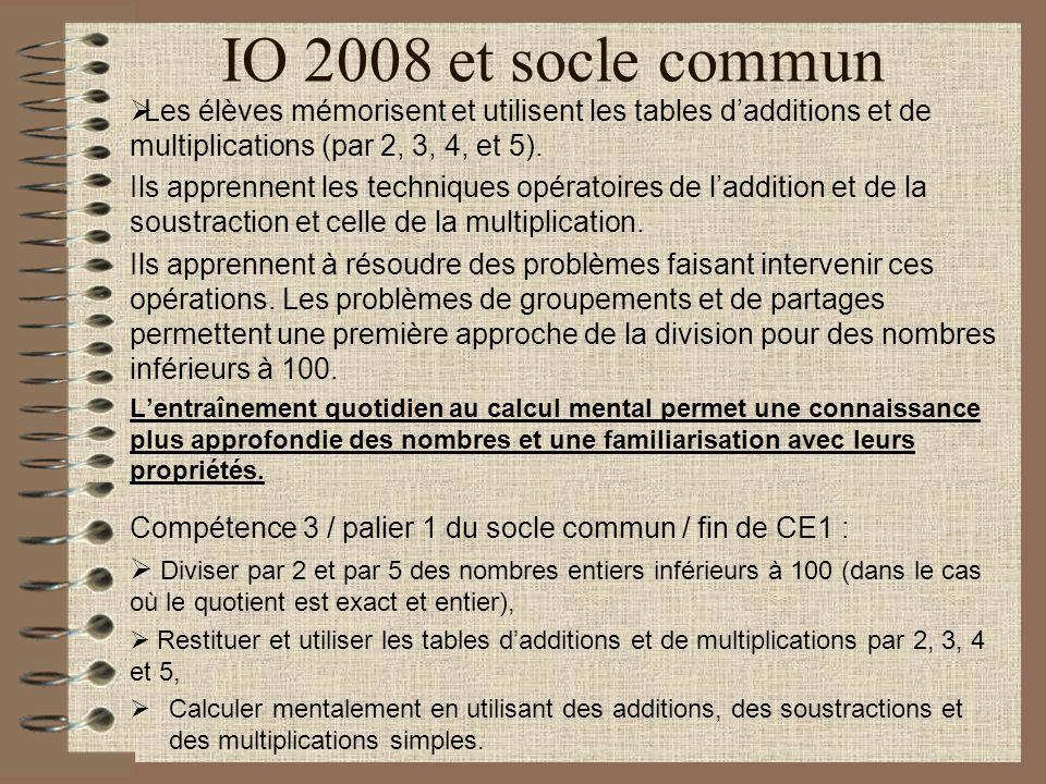 IO 2008 et socle commun Les élèves mémorisent et utilisent les tables d'additions et de multiplications (par 2, 3, 4, et 5).