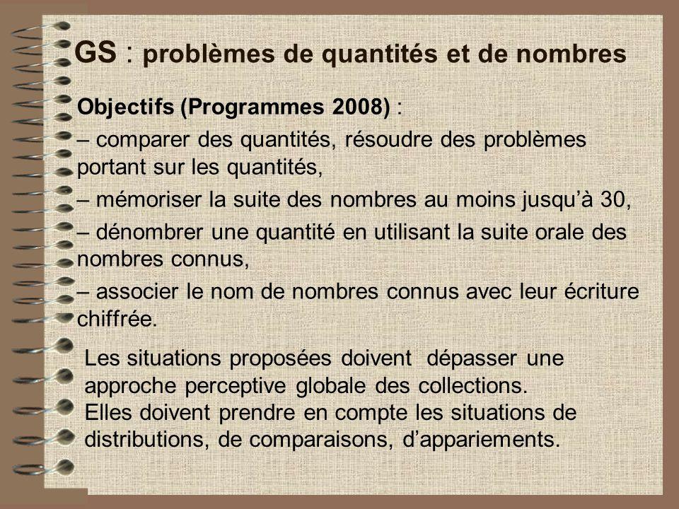 GS : problèmes de quantités et de nombres
