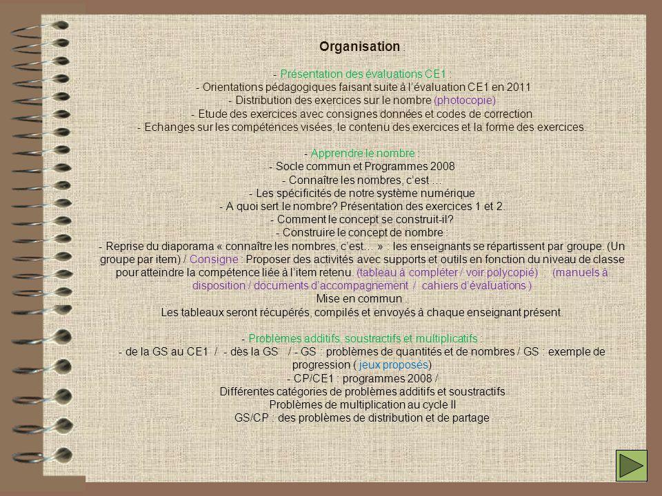 Organisation : - Présentation des évaluations CE1 : - Orientations pédagogiques faisant suite à l'évaluation CE1 en 2011 - Distribution des exercices sur le nombre (photocopie) - Etude des exercices avec consignes données et codes de correction - Echanges sur les compétences visées, le contenu des exercices et la forme des exercices.
