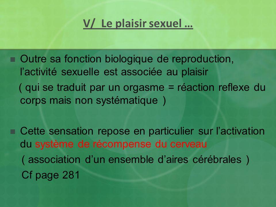 V/ Le plaisir sexuel …Outre sa fonction biologique de reproduction, l'activité sexuelle est associée au plaisir.