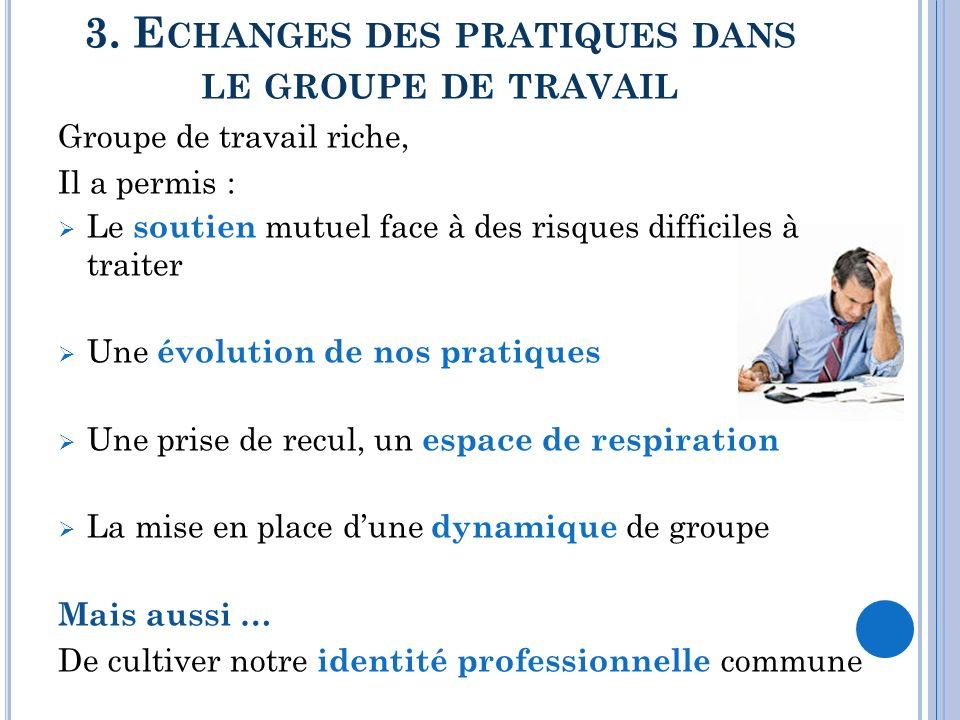 3. Echanges des pratiques dans le groupe de travail