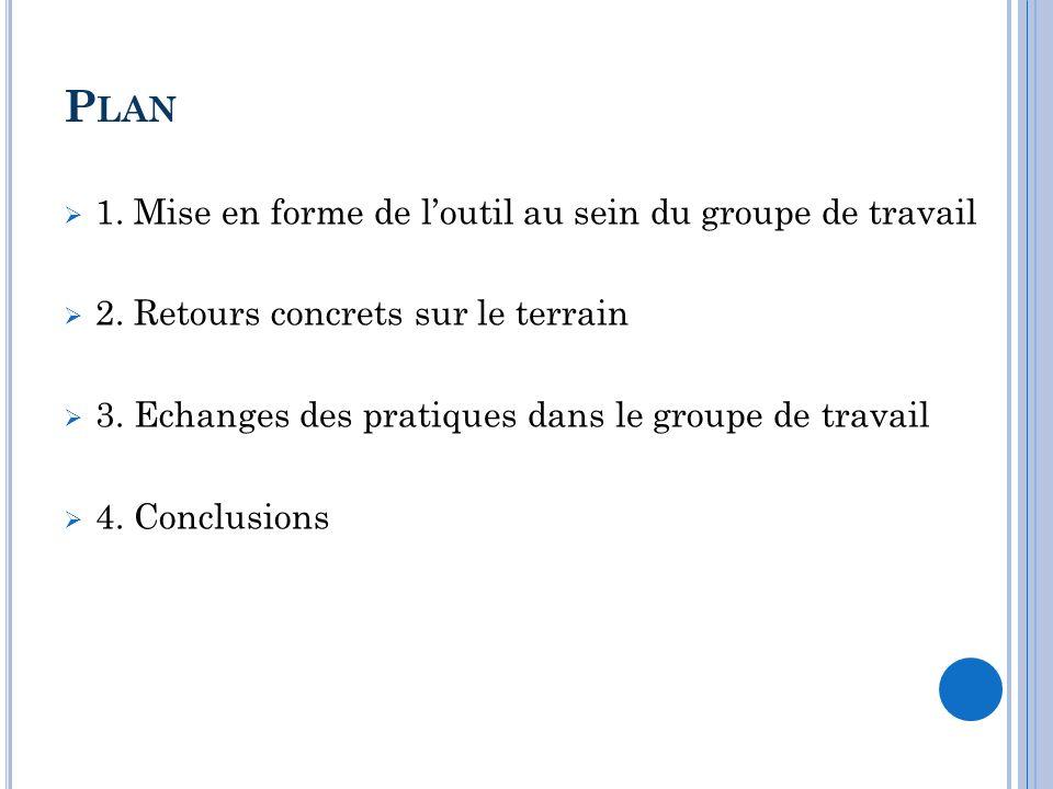 Plan 1. Mise en forme de l'outil au sein du groupe de travail