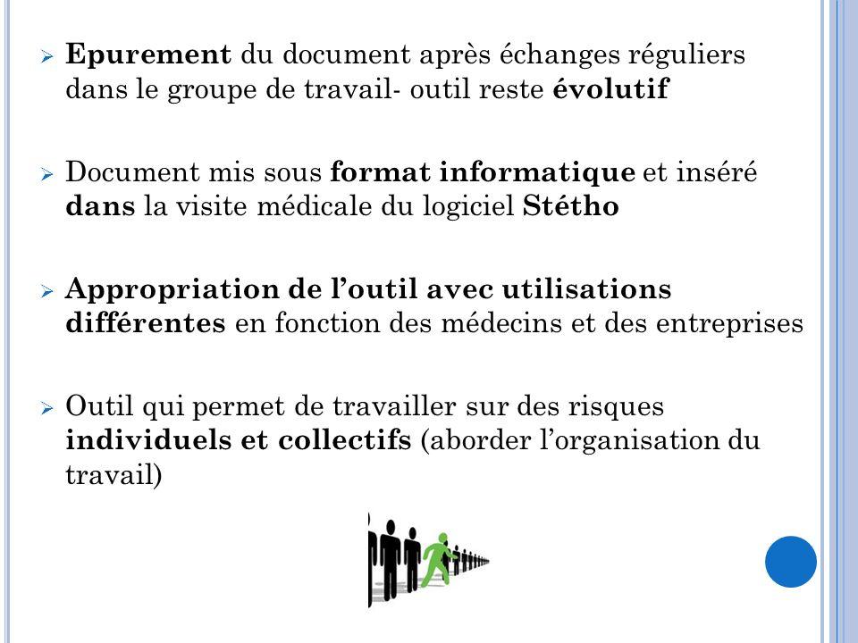 Epurement du document après échanges réguliers dans le groupe de travail- outil reste évolutif