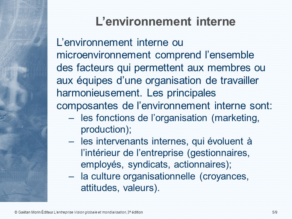 L'environnement interne