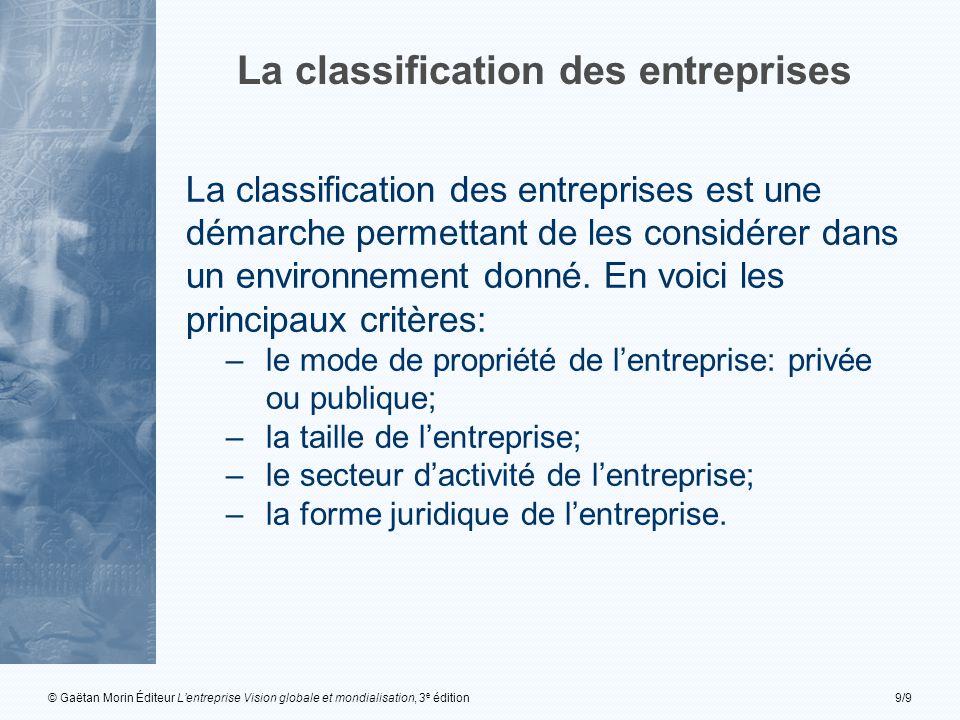 La classification des entreprises