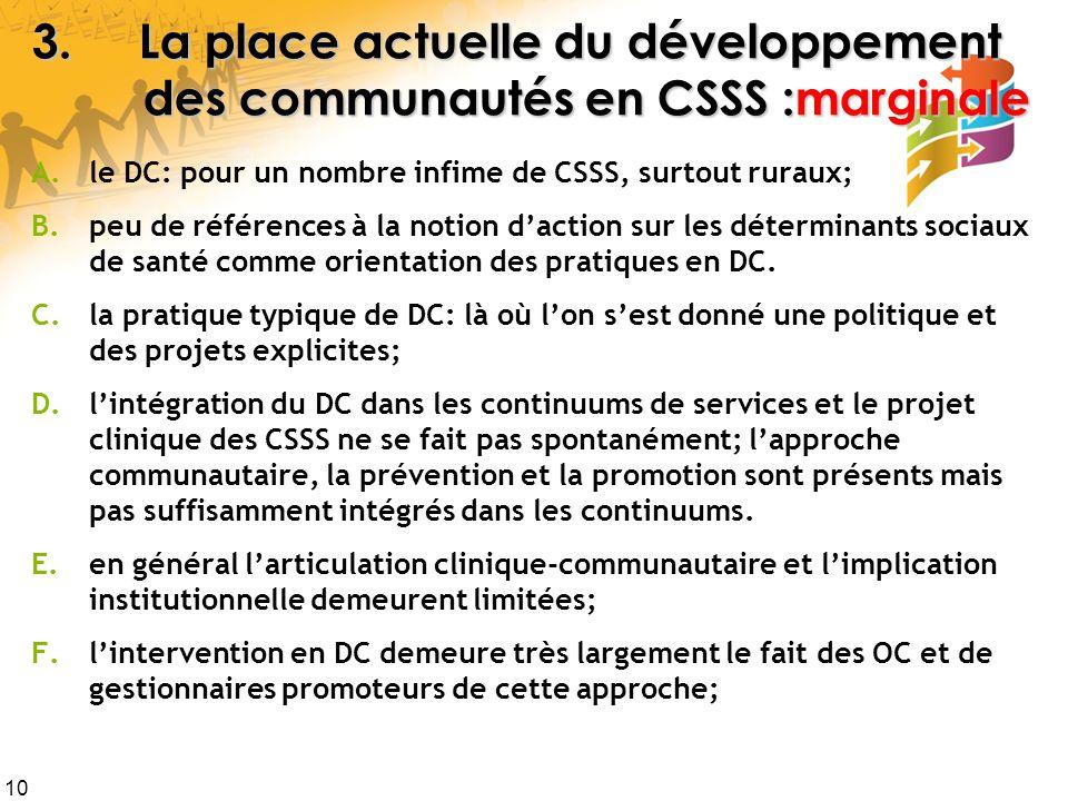 3. La place actuelle du développement des communautés en CSSS :marginale
