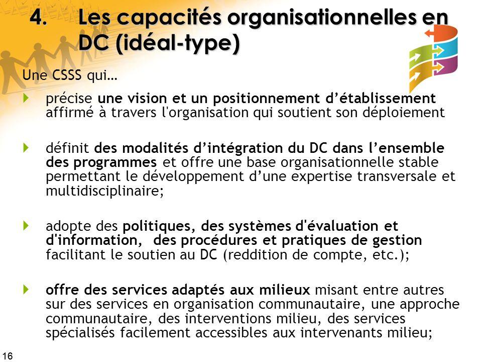4. Les capacités organisationnelles en DC (idéal-type)