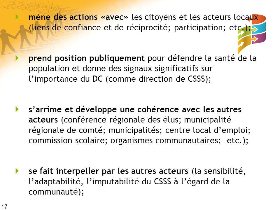 mène des actions «avec» les citoyens et les acteurs locaux (liens de confiance et de réciprocité; participation; etc.);