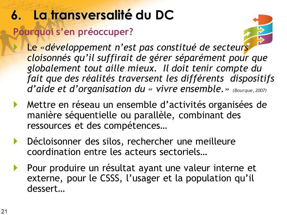6. La transversalité du DC