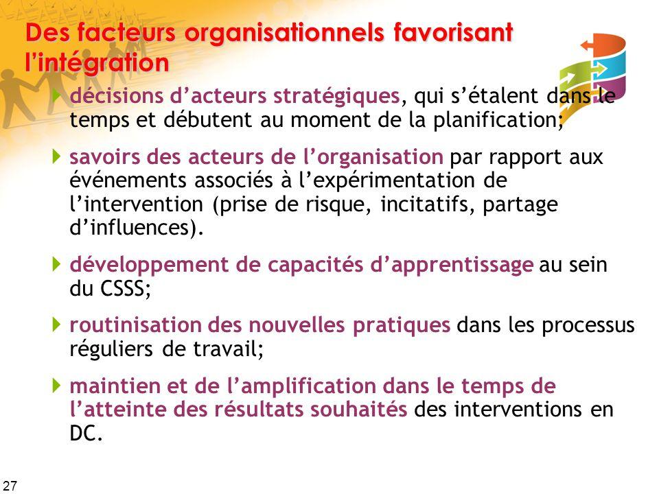Des facteurs organisationnels favorisant l'intégration