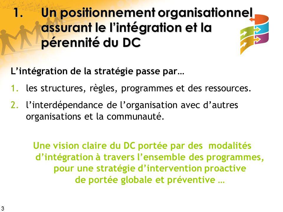 1. Un positionnement organisationnel. assurant le l'intégration et la