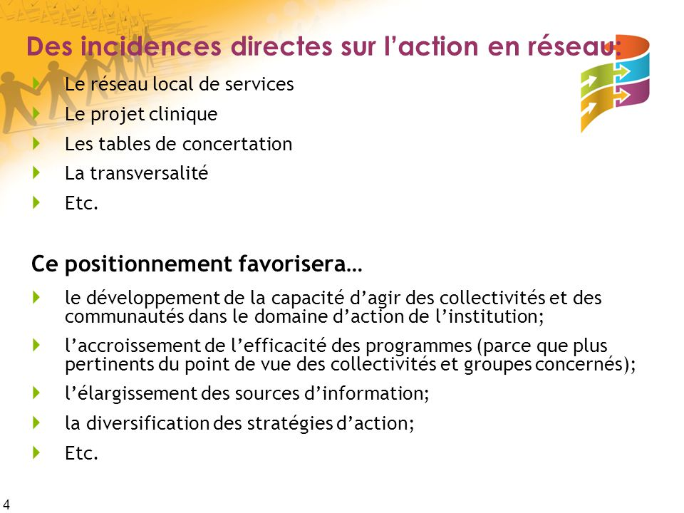 Des incidences directes sur l'action en réseau: