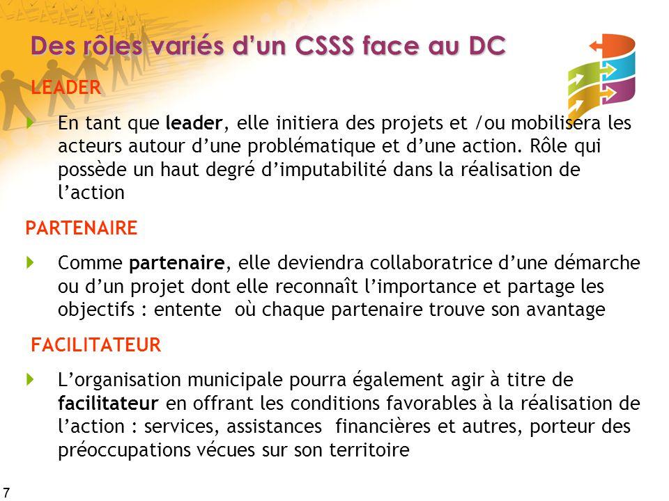 Des rôles variés d'un CSSS face au DC