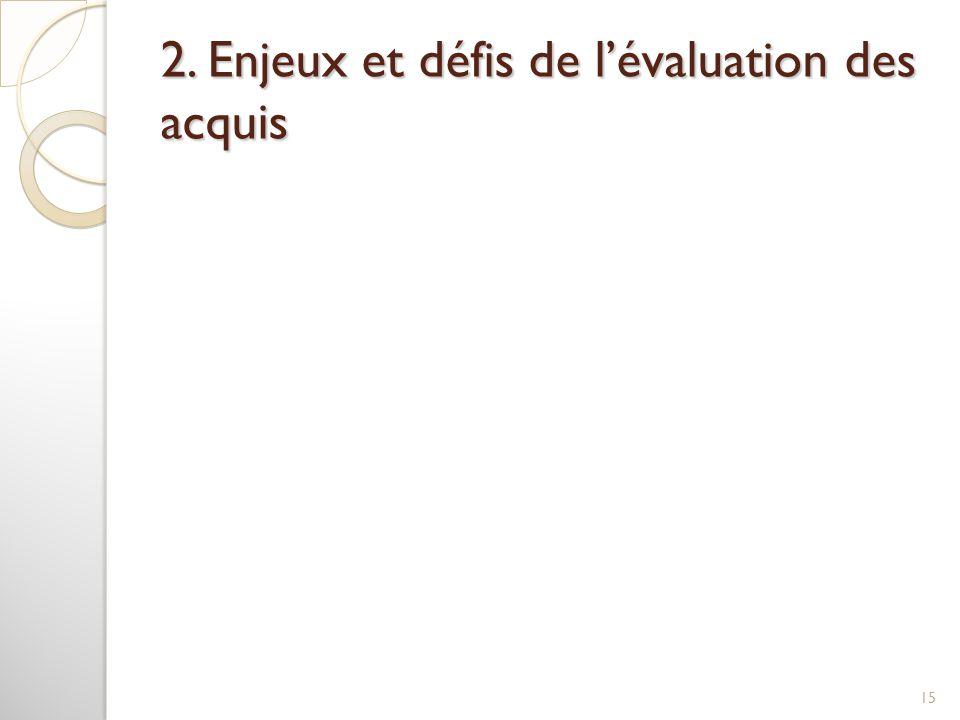 2. Enjeux et défis de l'évaluation des acquis