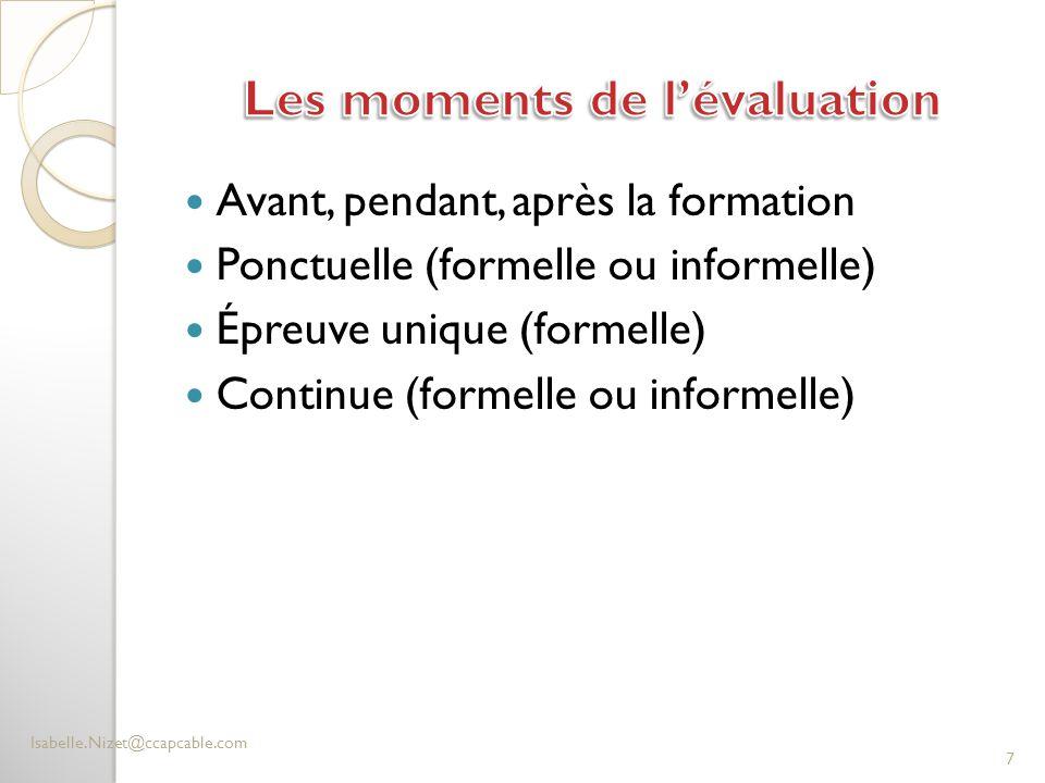 Les moments de l'évaluation