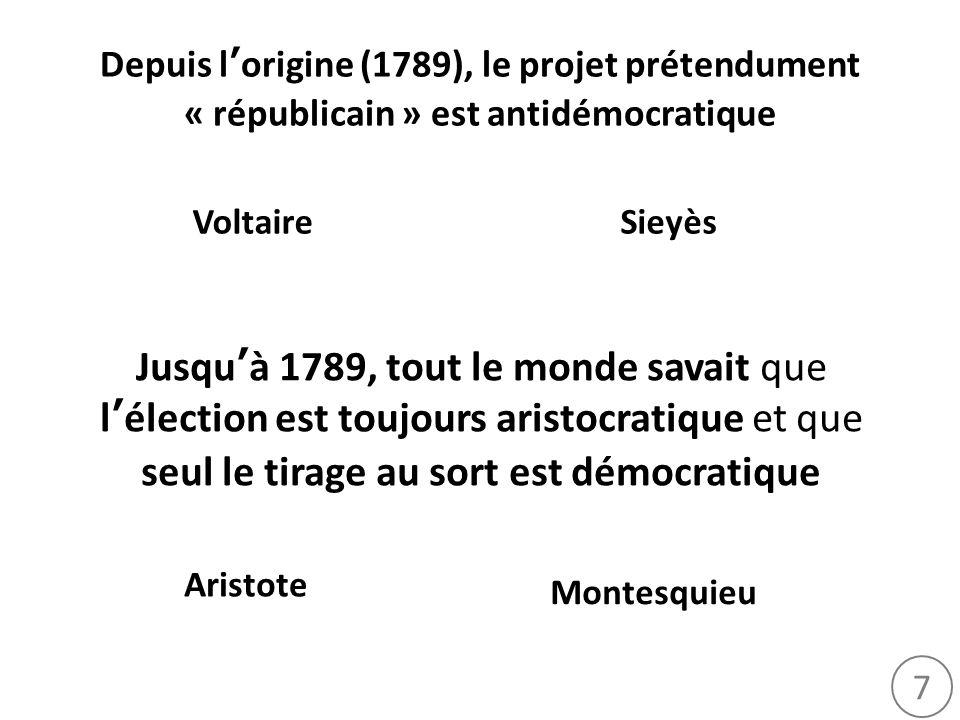 Depuis l'origine (1789), le projet prétendument « républicain » est antidémocratique
