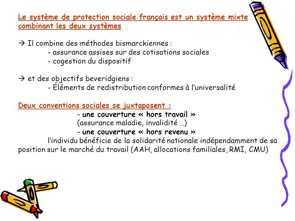 Le système de protection sociale français est un système mixte combinant les deux systèmes