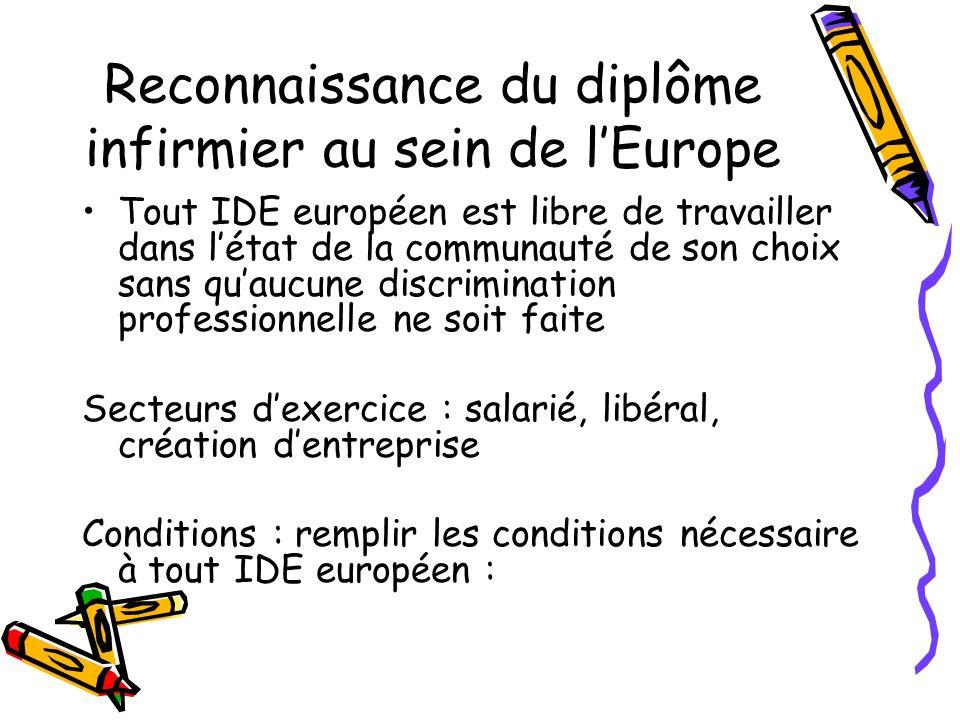 Reconnaissance du diplôme infirmier au sein de l'Europe