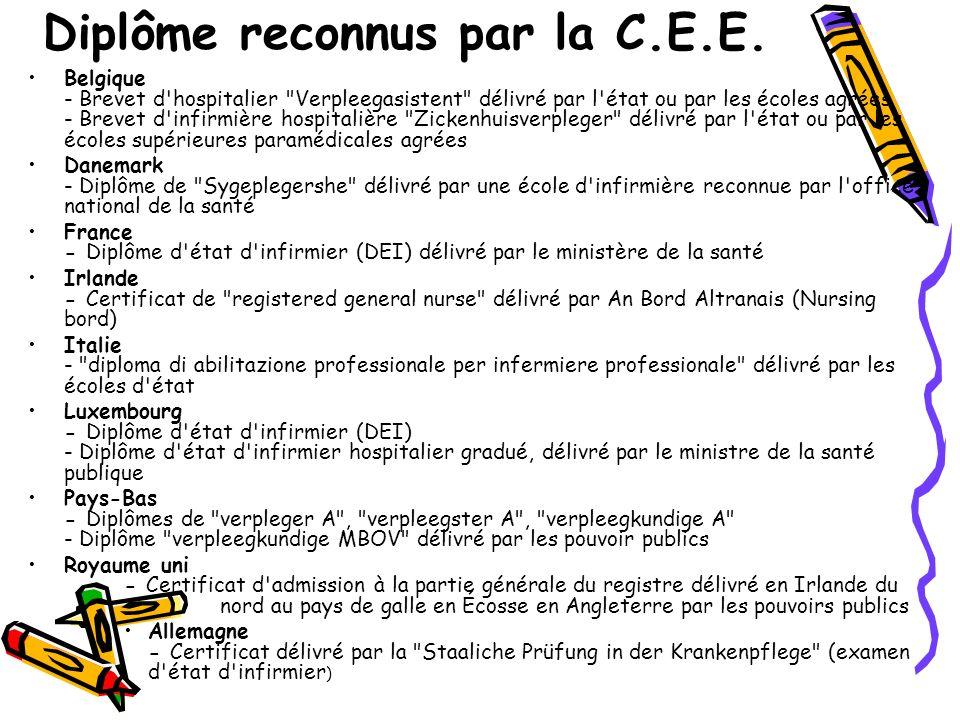 Diplôme reconnus par la C.E.E.