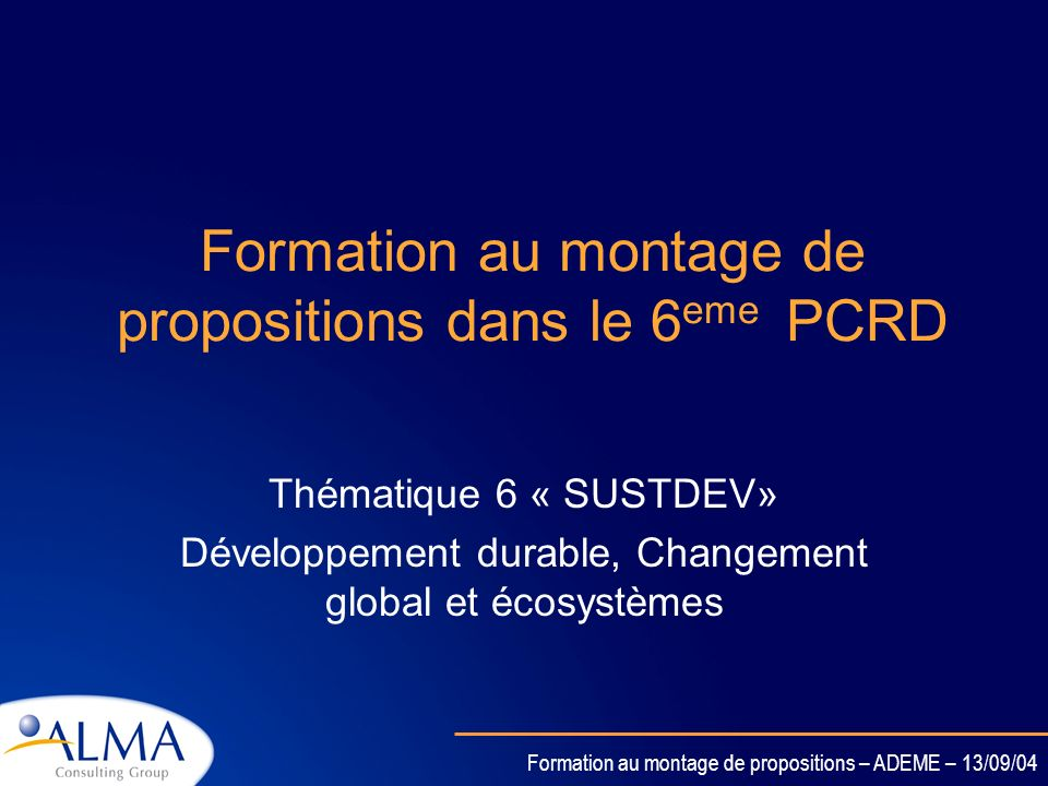 Formation au montage de propositions dans le 6eme PCRD