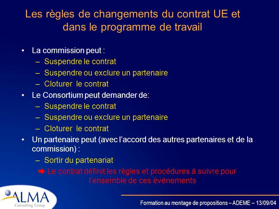 Les règles de changements du contrat UE et dans le programme de travail