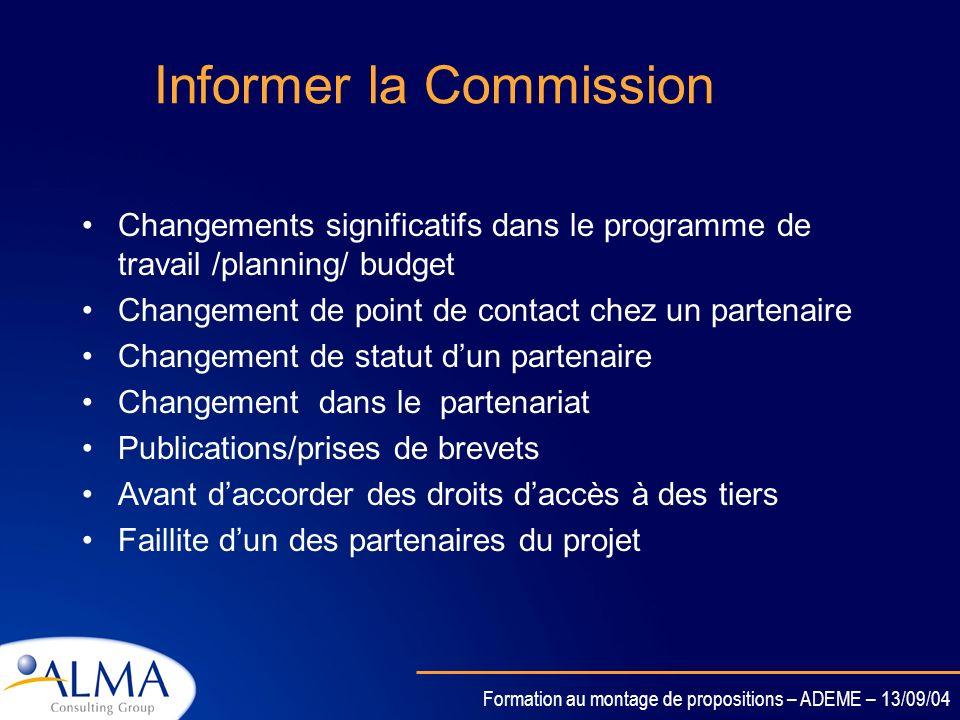 Informer la Commission