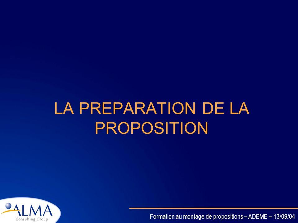 LA PREPARATION DE LA PROPOSITION