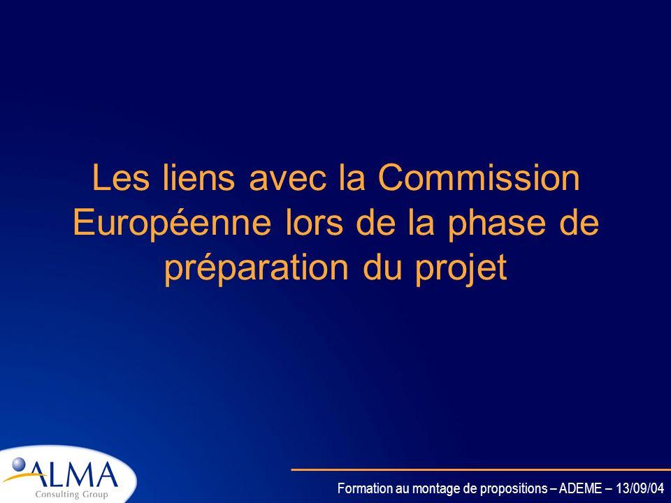 Les liens avec la Commission Européenne lors de la phase de préparation du projet