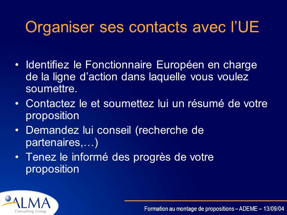 Organiser ses contacts avec l'UE