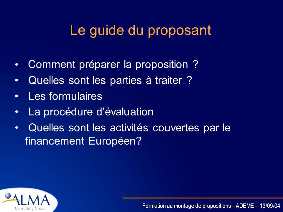 Le guide du proposant Comment préparer la proposition