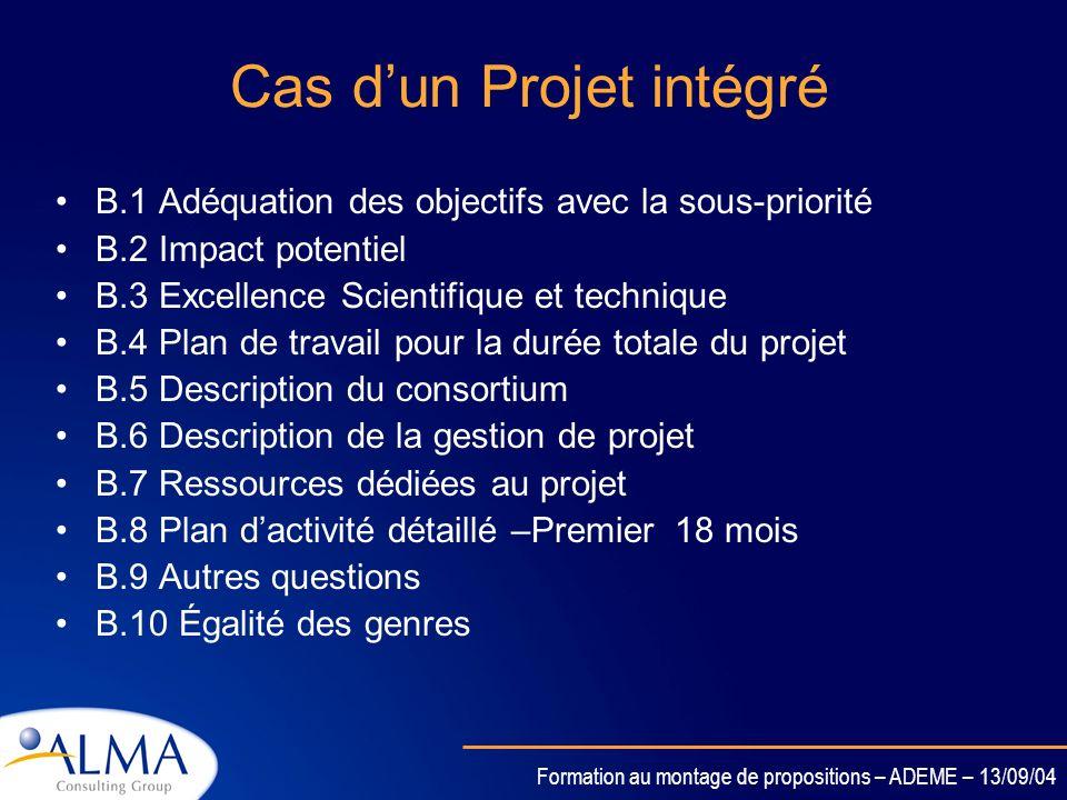 Cas d'un Projet intégré