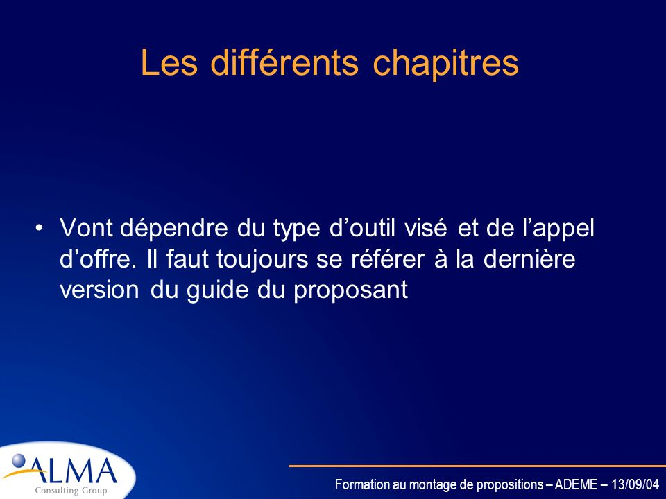 Les différents chapitres